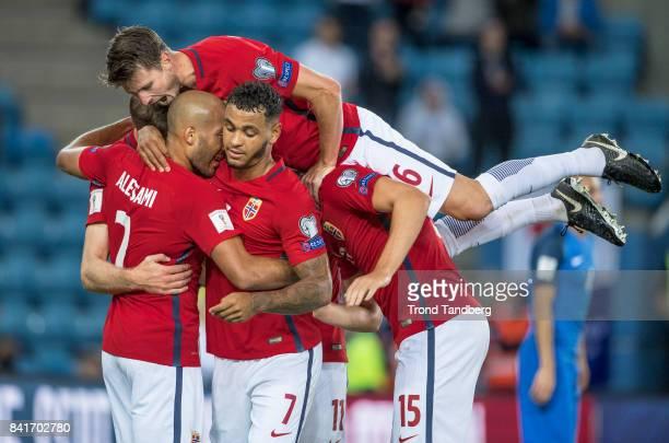 Haitam Aleesami Joshua King Mohamed Elyounoussi Sander Berge Haavard Nordtveit of Norway celebrates goal during the FIFA 2018 World Cup Qualifier...