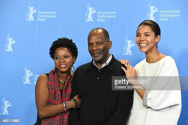 Haitian actress Lovely Kermonde Fifi French actor Alex Descas and NigerianGerman singer and actress Ayo pose at the photocall of the film 'Meutre a...