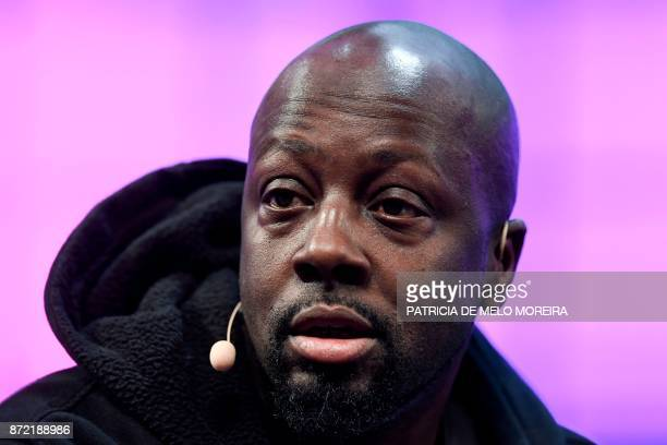 Haitian musician and philanthropist Wyclef Jean gives an interview during the 2017 Web Summit in Lisbon on November 9 2017 Europe's largest tech...