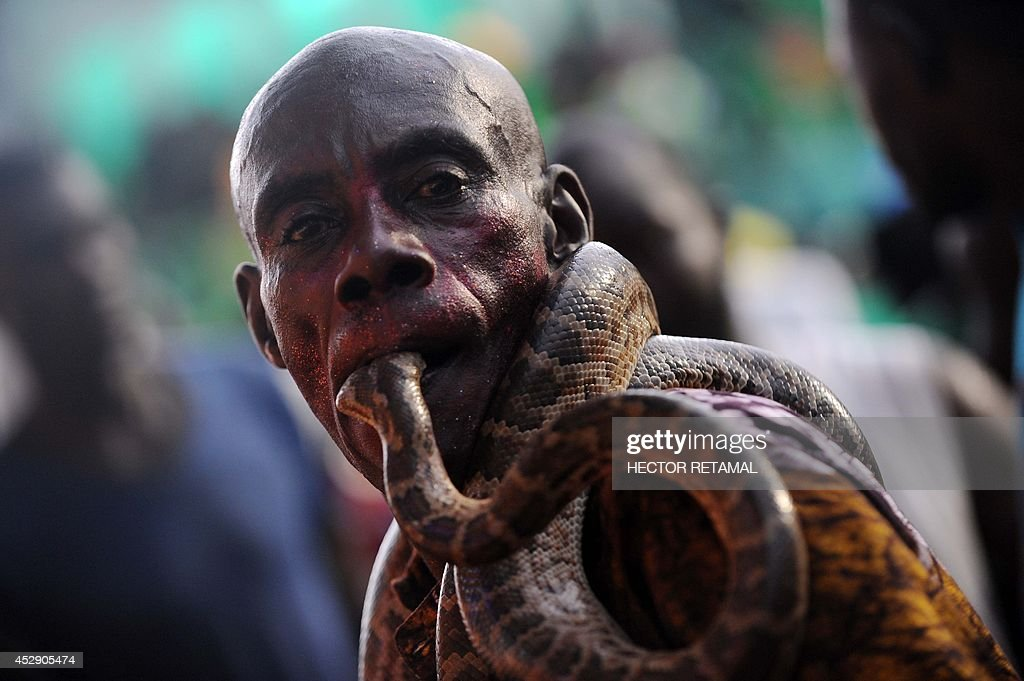 A Haitian performer with a snake participate in the third and final day of the Carnival of Flowers, on July 29, 2014, in Port au Prince, Haiti. The Carnival was celebrated for three-day through the streets of Hatian capital's downtown. AFP PHOTO/Hector RETAMAL