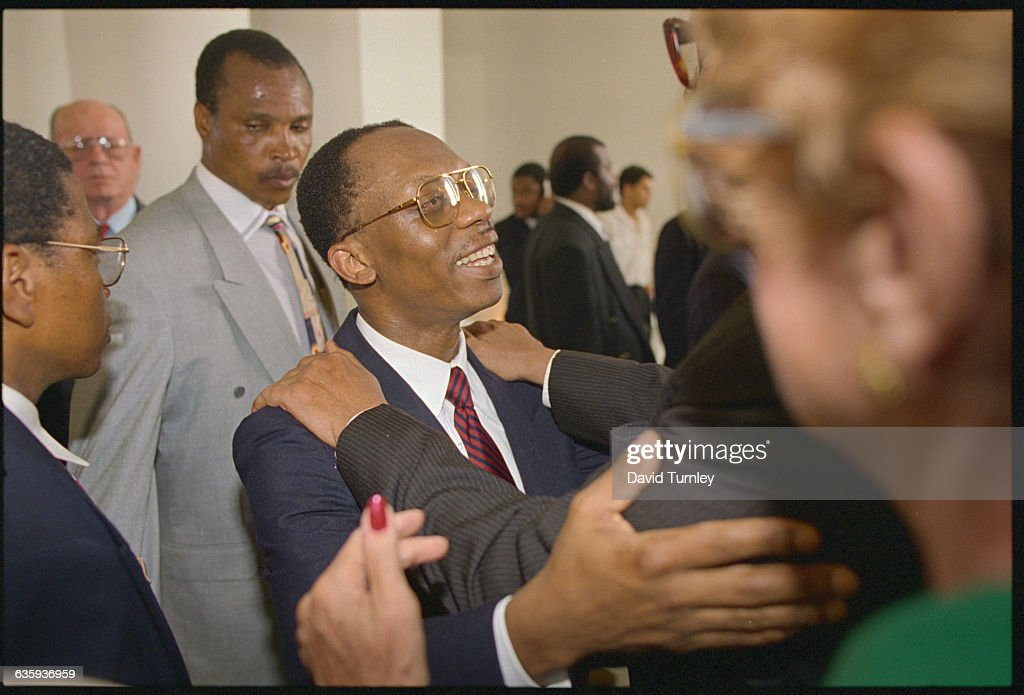 Haitian President <a gi-track='captionPersonalityLinkClicked' href=/galleries/search?phrase=Jean-Bertrand+Aristide&family=editorial&specificpeople=176717 ng-click='$event.stopPropagation()'>Jean-Bertrand Aristide</a>