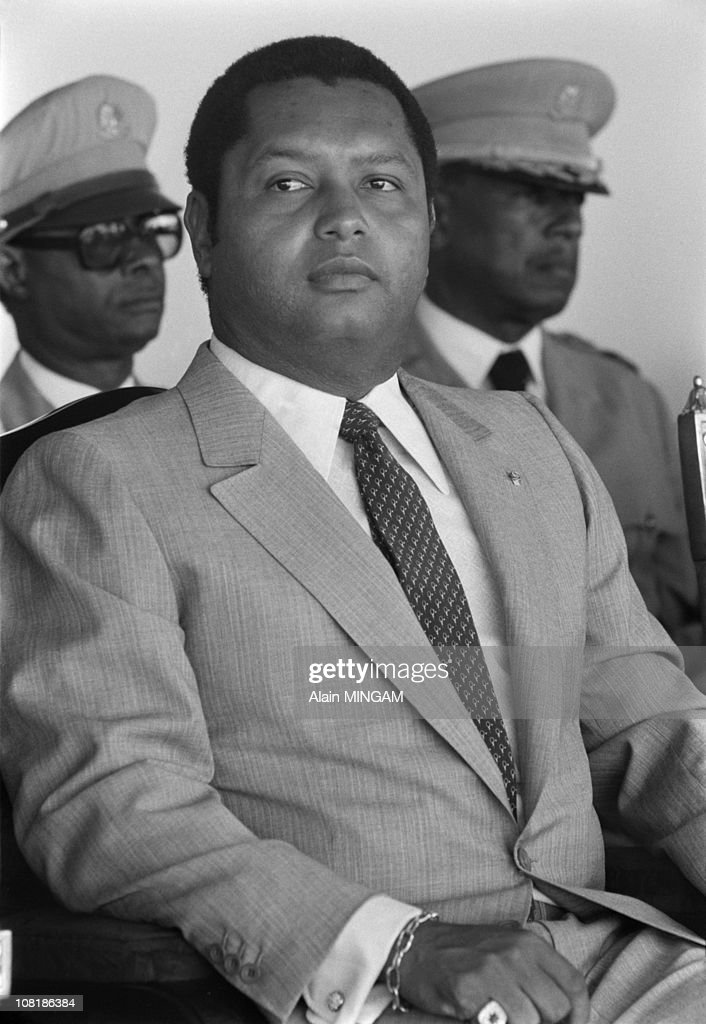 Haitian President <a gi-track='captionPersonalityLinkClicked' href=/galleries/search?phrase=Jean-Claude+Duvalier&family=editorial&specificpeople=2596261 ng-click='$event.stopPropagation()'>Jean-Claude Duvalier</a> attends celebrations to mark his 10th anniversary of the presidency in April, 1981 in Port-au-Prince, Haiti.