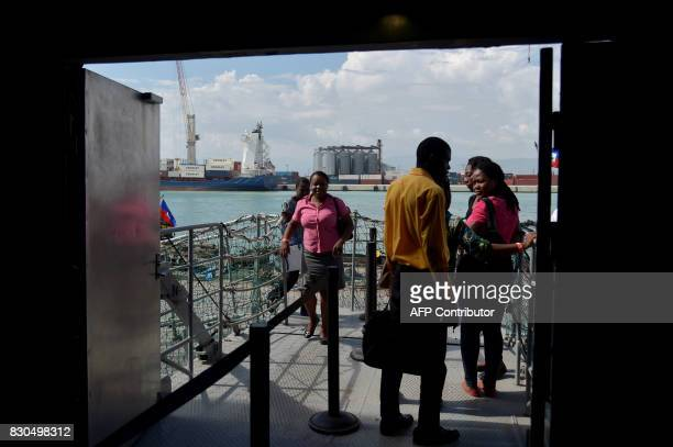 Haitians people visiting the Logos Hope library ship in the Port of PortauPrince on August 11 2017 Logos Hope ship functions as a floating library...