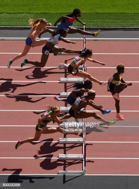 Haiti's Mulern Jean Netherlands' Eefje Boons Britain's Tiffany Porter Japan's Ayako Kimura Jamaica's Megan Simmonds US athlete Nia Ali Canada's...