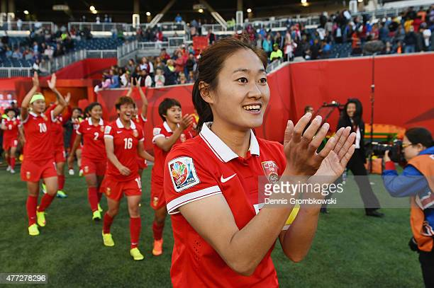 Haiyan Wu of China PR celebrates after the FIFA Women's World Cup Canada 2015 Group A match between China PR and New Zealand at Winnipeg Stadium on...