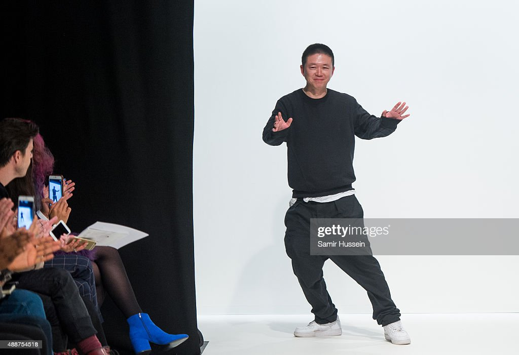 Haizhen Wang walks the catwalk during the Haizhen Wang Spring/Summer 2016 Runway Show at The Hospital Club on September 17 2015 in London England