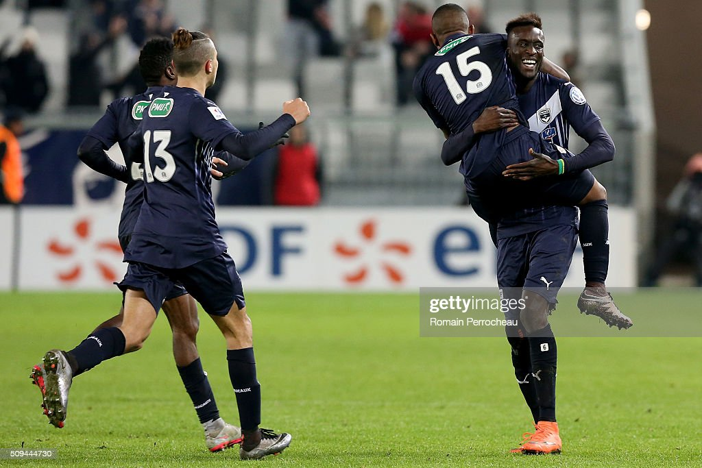 Haj Hassen Hazem and Ludovic Sane for FC Girondins de Bordeaux react after the goal of Malcolm Silva De Oliveira (15) during the French Cup match between FC Girondins de Bordeaux and FC Nantes at Stade Matmut Atlantique at Stade Matmut Atlantique on February 10, 2016 in Bordeaux, France.
