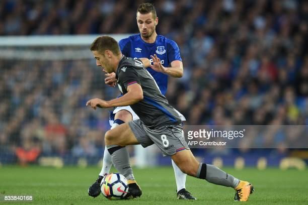 Hajduk Split's Nikola Vlasic vies with Everton's French midfielder Morgan Schneiderlin during the UEFA Europa League playoff round first leg football...