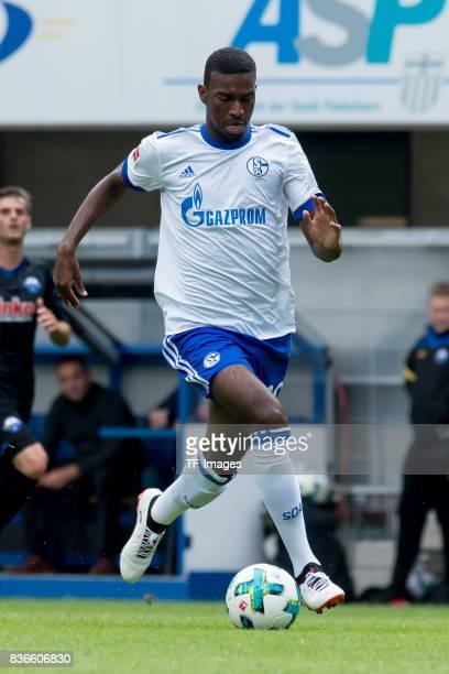 Haji Wright of Schalke controls the ball during the preseason friendly match between SC Paderborn and FC Schalke 04 at BentelerArena on July 15 2017...