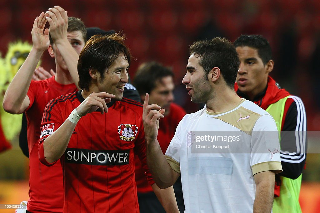 Hajime Hosogai and Ramos Carjaval of Leverkusen celebrate after the Bundesliga match between Bayer 04 Leverkusen and Fortuna Duesseldorf at BayArena on November 4, 2012 in Leverkusen, Germany. The match between Leverkusen and Duesseldorf ended 3-2.