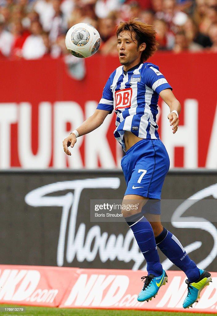 Hajime Hosogai of Berlin controls the ball during the Bundesliga match between 1 FC Nuernberg and Hertha BSC Berlin at Grundig Stadium on August 18...