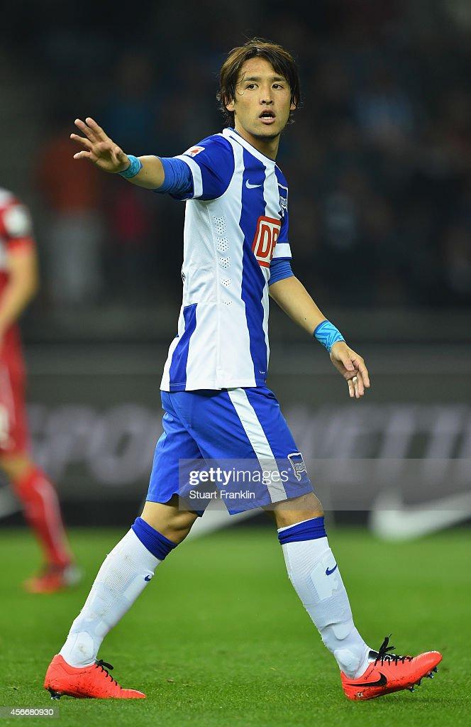 Hajime Hosogai of Berlin gestures during the Bundesliga match between Hertha BSC and Vfb Stuttgart at Olympiastadion on October 3 2014 in Berlin...