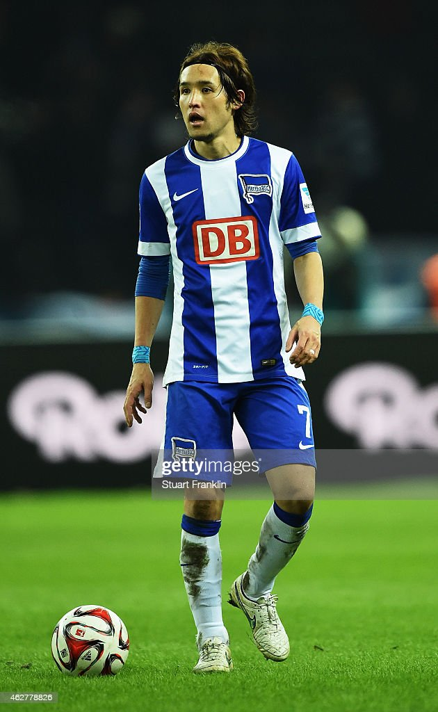 Hajime Hosogai of Berlin in action during the Bundesliga match between Hertha BSC and Bayer 04 Leverkusen at Olympiastadion on February 4 2015 in...