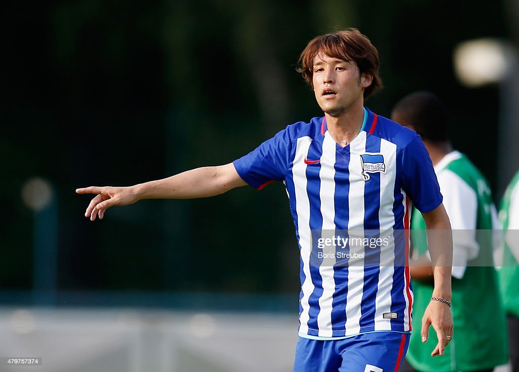 Hajime Hosogai of Berlin looks on during a friendly match between Hertha BSC and Team DB at Waldstadion on July 3 2015 in Ludwigsfelde Germany