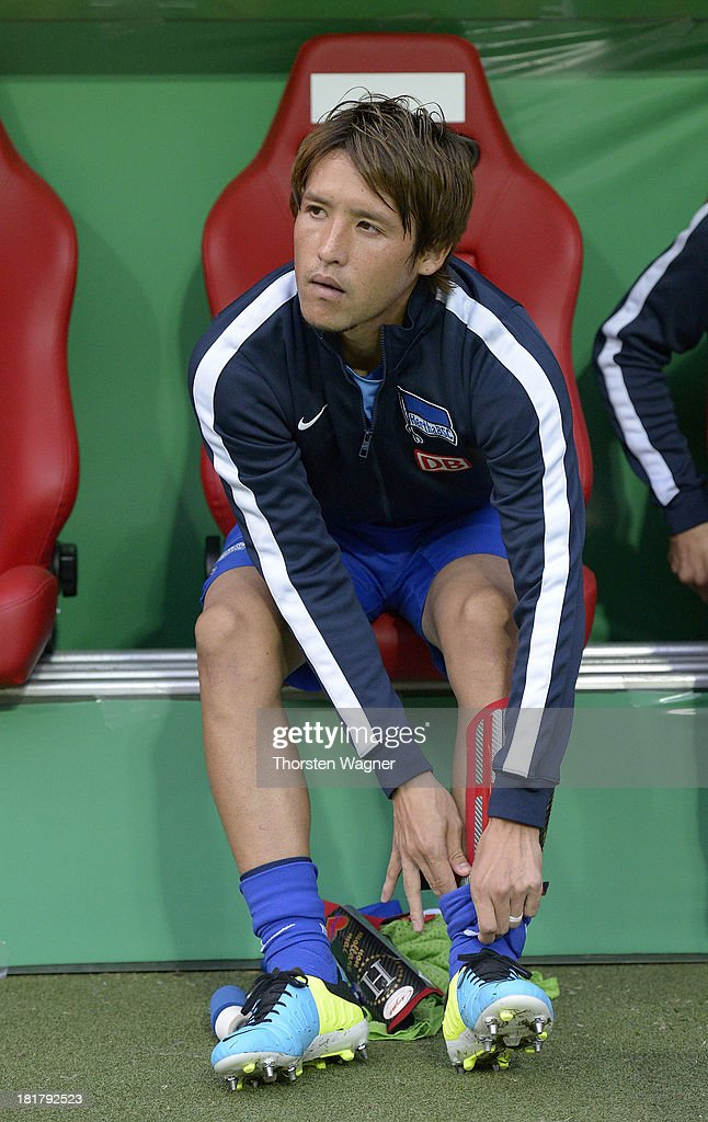 Hajime Hosogai of Berlin looks on prior to the DFB Cup 2nd round match between 1FC Kaiserslautern and Hertha BSC Berlin at FritzWalterStadion on...