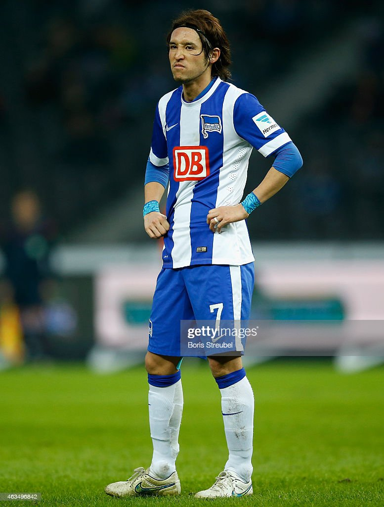 Hajime Hosogai of Berlin shows his frustration after losing the Bundesliga match between Hertha BSC and SC Freiburg at Olympiastadion on February 15...