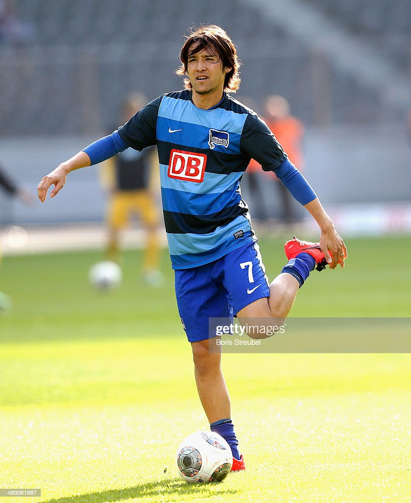 Hajime Hosogai of Berlin warms up prior to the Bundesliga match between Hertha BSC and 1899 Hoffenheim at Olympiastadion on April 6 2014 in Berlin...