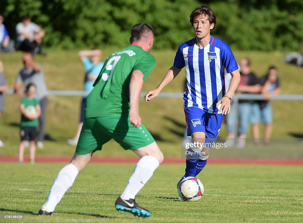 Hajime Hosogai of Hertha BSC during the game between dem 1 FC Luebars and Hertha BSC on July 1 2015 in Berlin Germany