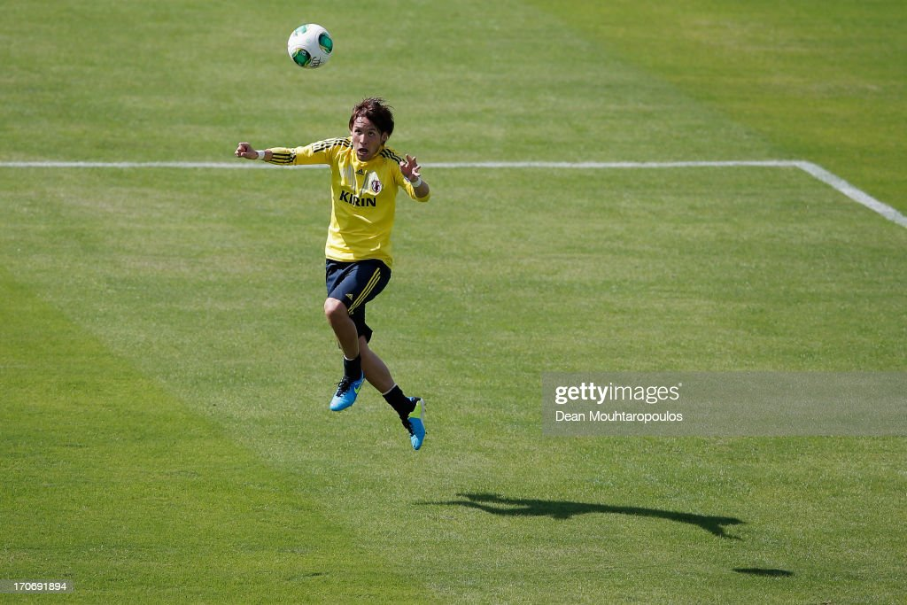 Hajime Hosogai of Japan in action during the Japan Training Session at Walmir Campelo Bezerra Stadium on June 16 2013 in Brasilia Brazil