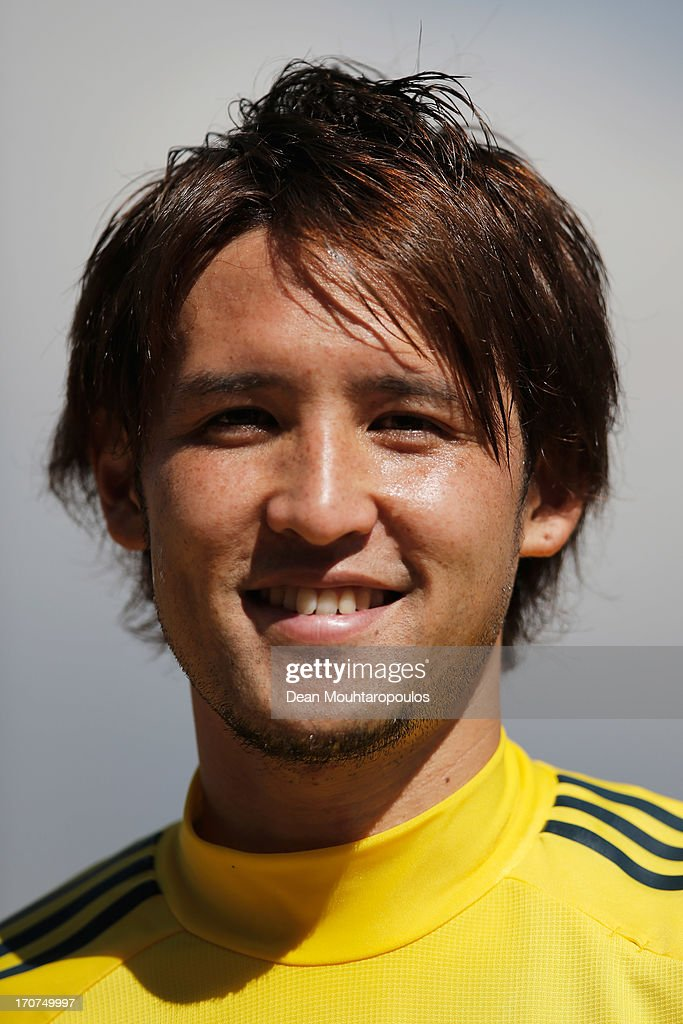 Hajime Hosogai of Japan looks on after the Japan Training Session at the Confderations Cup 2013 at Centro de Capacitacao Fisica dos Bombeiros or...