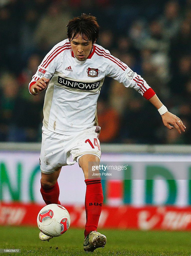 Hajime Hosogai of Leverkusen controls the ball during the Bundesliga match between Hannover 96 and Bayer 04 Leverkusen at AWD Arena on December 9, 2012 in Hannover, Germany.