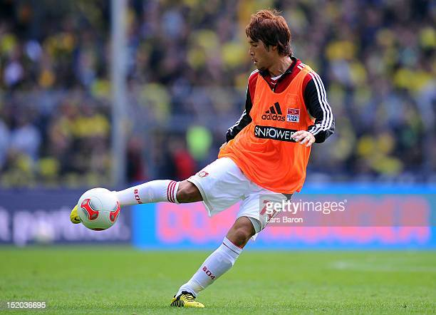 Hajime Hosogai of Leverkusen is seen during the Bundesliga match between Borussia Dortmund and Bayer 04 Leverkusen at Signal Iduna Park on September...