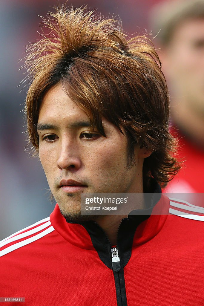 Hajime Hosogai of Leverkusen looks on prior to the Bundesliga match between Bayer 04 Leverkusen and Fortuna Duesseldorf at BayArena on November 4, 2012 in Leverkusen, Germany. The match between Leverkusen and Duesseldorf ended 3-2.