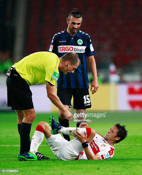Hajime Hosogai of VfB Stuttgart is hurt during the Second Bundesliga match between VfB Stuttgart and SpVgg Greuther Fuerth at MercedesBenz Arena on...