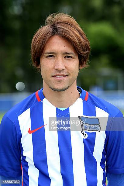 Hajime Hosogai poses during the Hertha BSC team presentation on July 10 2015 in Berlin Germany