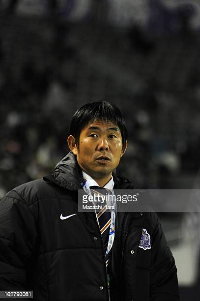 Hajime Moriyasu coach of Sanfrecce Hiroshima looks on prior to the AFC Champions League Group G match between Sanfrecce Hiroshima and Bunyodkor at...