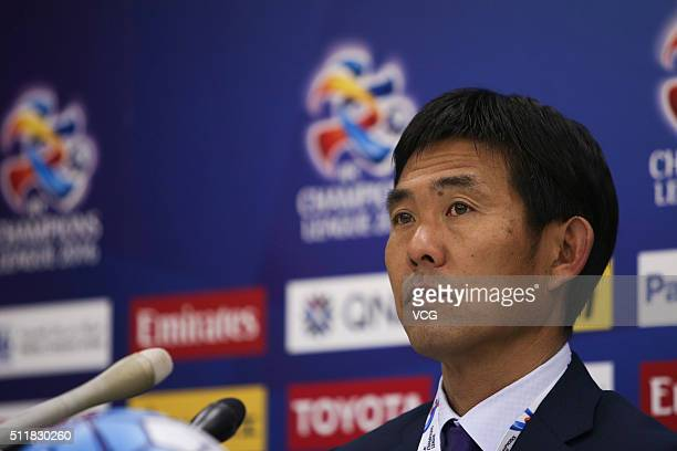 Hajime Moriyasu head coach of Sanfrecce Hiroshima attends a press conference after the AFC Champions League Group F match between Sanfrecce Hiroshima...