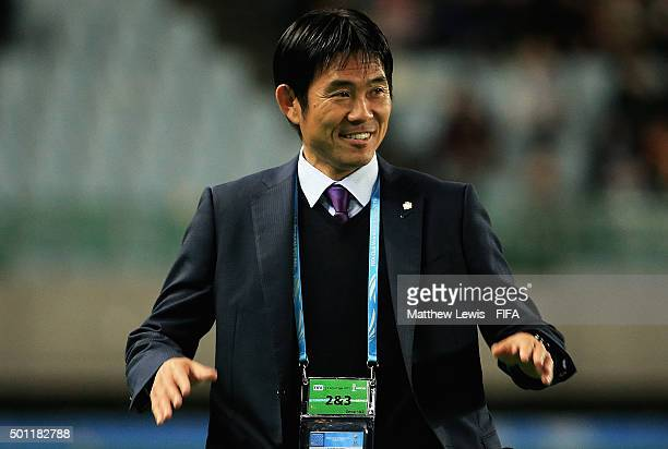 Hajime Moriyasu manager of Sanfrecce Hiroshima looks on during the FIFA Club World Cup Quarter Final match between TP Mazembe and Sanfrecce Hiroshima...