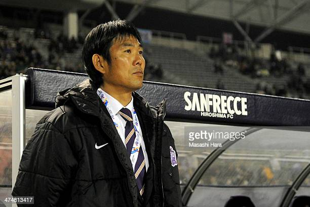 Hajime Moriyasucoach of Sanfrecce Hiroshima looks on prior to the AFC Champions League match between Sanfrecce Hiroshima and Beijing Guoan at...