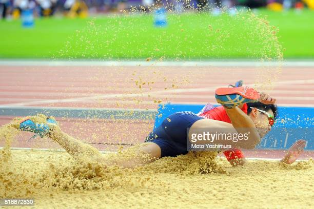 Hajimu Ashida of Japan competes in the Men's Triple Jump T47 during the IPC World ParaAthletics Championships 2017 at London Stadium on July 17 2017...