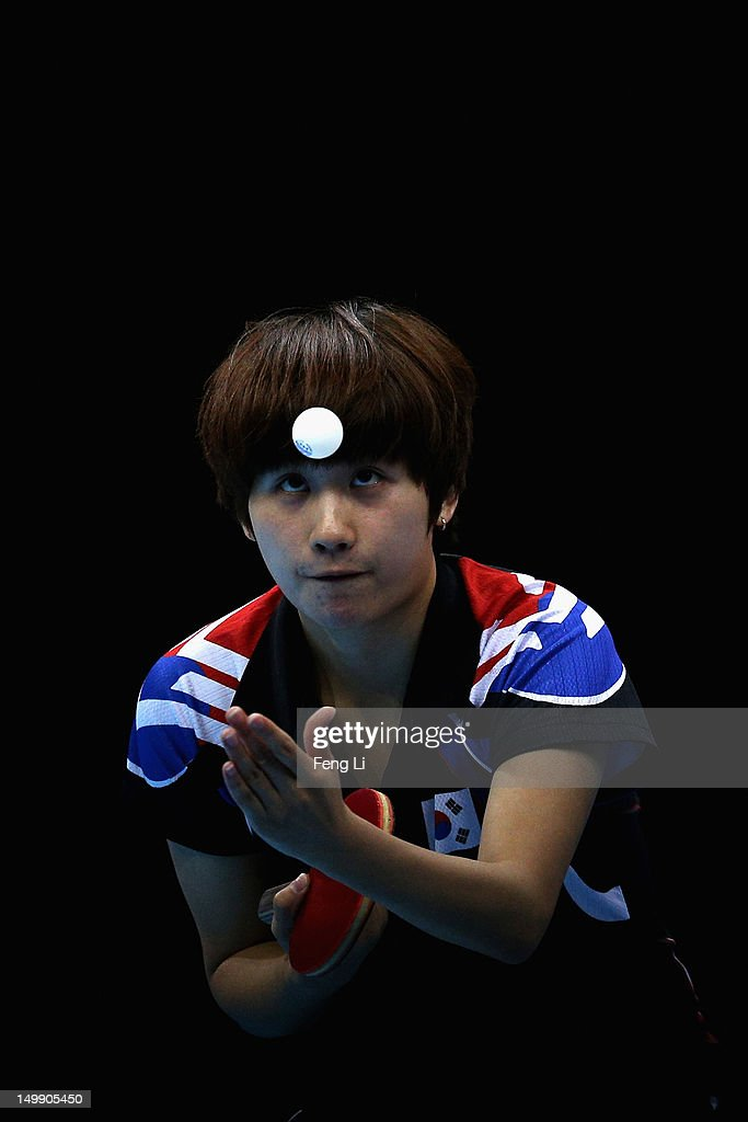Hajung Seok of Korea competes during Women's Team Table Tennis semifinal match against team of China on Day 10 of the London 2012 Olympic Games at ExCeL on August 6, 2012 in London, England.
