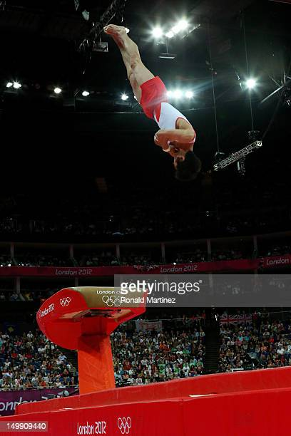Hak Seon Yang of Korea competes in the Artistic Gymnastics Men's Vault on Day 10 of the London 2012 Olympic Games at North Greenwich Arena on August...