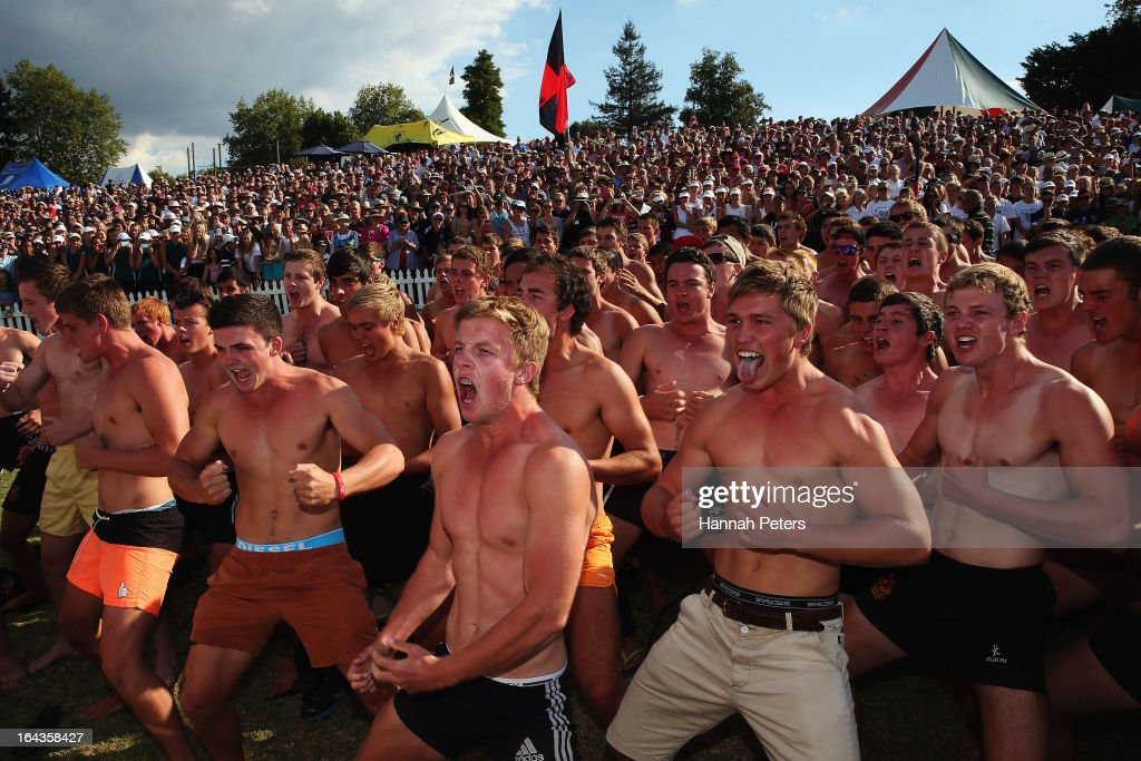 A haka is performed for Hamilton Boys High School after winning the Maadi Cup during day six of the Maadi Cup at Lake Karapiro on March 23, 2013 in Cambridge, New Zealand.