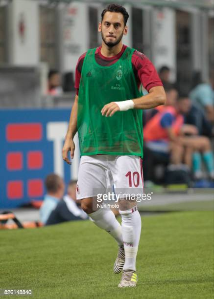 Hakan Calhanoglu during the preliminaries of Europa League 2017/2018 match between Milan v Craiova in Milan on august 3 2017