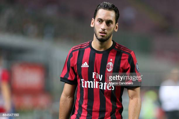 Hakan Calhanoglu of Ac Milan during the UEFA Europa League Qualifying PlayOffs round first leg match between AC Milan and KF Shkendija AC Milan wins...