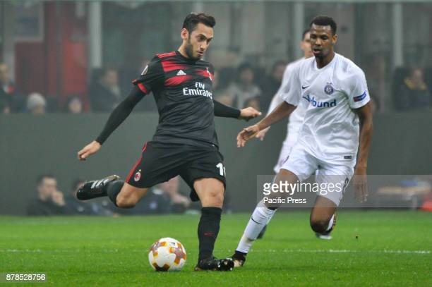Hakan Calhanoglu of AC Milan during uefa Europa League AC Milan vs FK Austria Wien at San Siro Stadium AC Milan wins 51 over FK Austria Wien