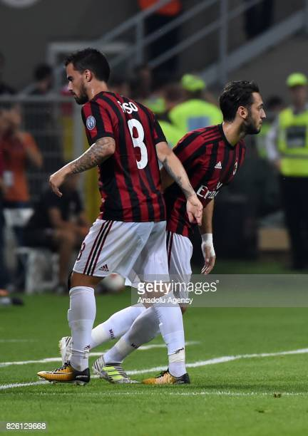 Hakan Calhanoglu of AC Milan goes into the field during UEFA Europa League Qualifying Round match between AC Milan and CS U Craiova at Giuseppe...