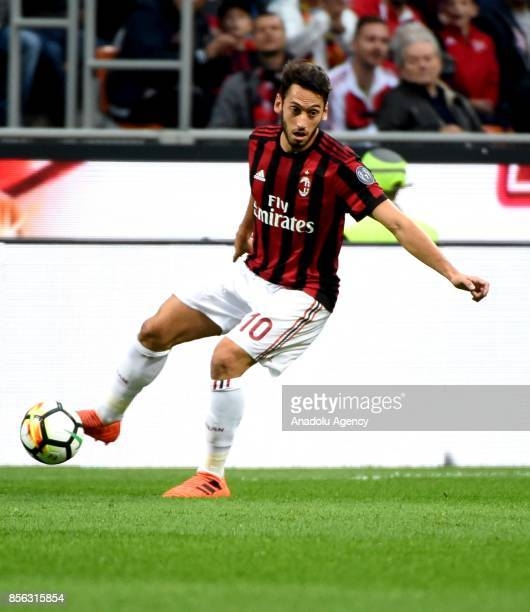 Hakan Calhanoglu of AC Milan in action during the Serie A 2017/18 match between AC Milan and AS Roma at Stadio Giuseppe Meazza on October 1 2017 in...