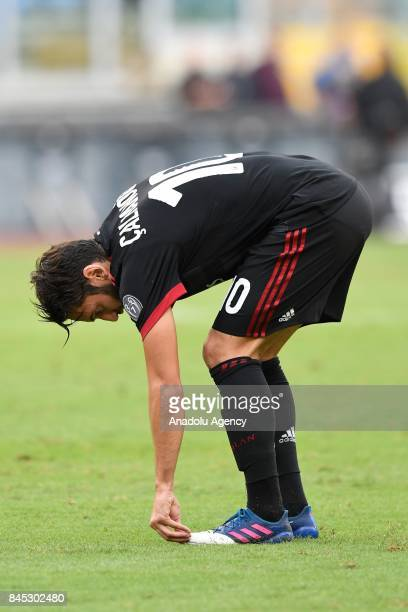 Hakan Calhanoglu of AC Milan in action during the Serie A soccer match between SS Lazio and AC Milan Stadio Olimpico on September 102017 in Rome Italy