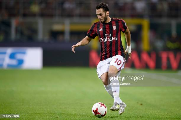 Hakan Calhanoglu of AC Milan in action during the UEFA Europa League qualifier football match between AC Milan and CSU Craiova AC Milan wins 20 over...