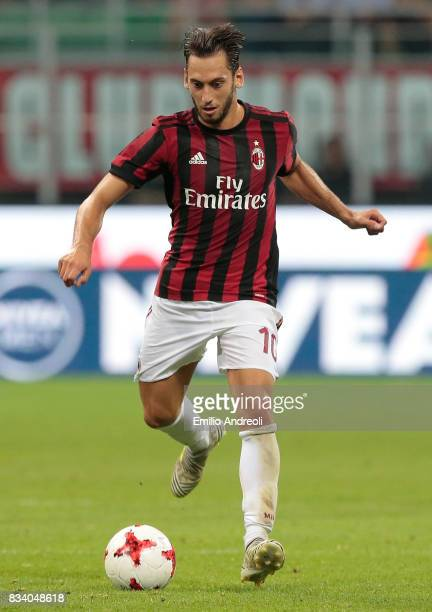 Hakan Calhanoglu of AC Milan in action during the UEFA Europa League Qualifying PlayOffs round first leg match between AC Milan and KF Shkendija 79...