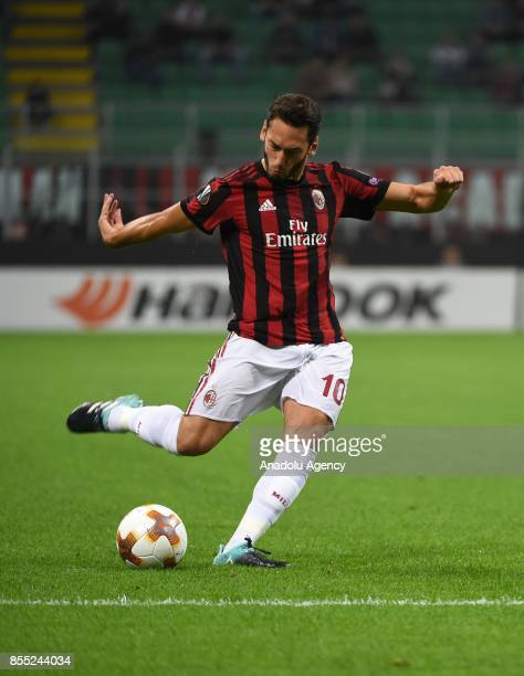 Hakan Calhanoglu of AC Milan in action during the UEFA Europa League Group stage match between AC Milan and Hrvatski Nogometni Klub Rijeka at the...