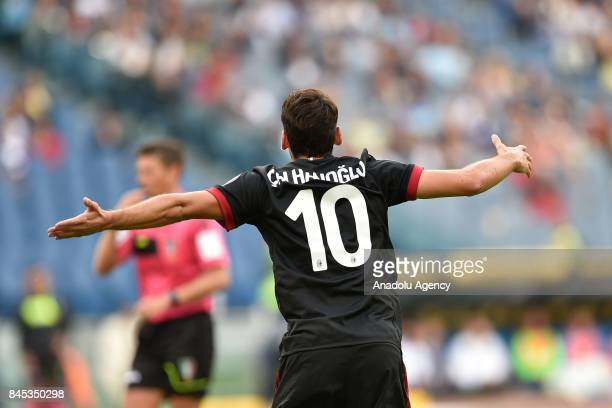 Hakan Calhanoglu of AC Milan in reacts during the Serie A soccer match between SS Lazio and AC Milan Stadio Olimpico on September 102017 in Rome Italy