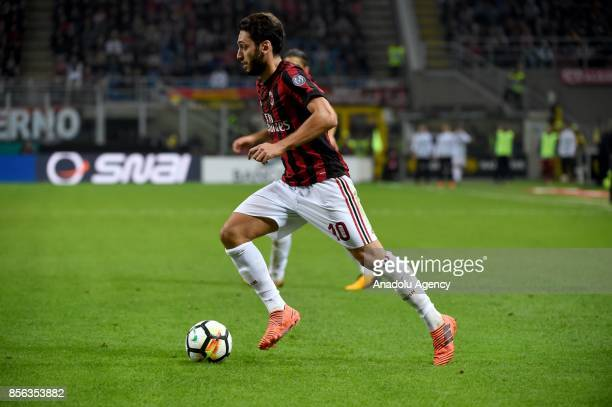 Hakan Calhanoglu of AC Milan is in action during the Serie A 2017/18 match between AC Milan and AS Roma at Stadio Giuseppe Meazza on October 1 2017...