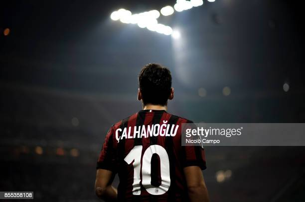 Hakan Calhanoglu of AC Milan is pictured during the UEFA Europa League Group D match between AC Milan and HNK Rijeka AC Milan wins 32 over HNK Rijeka