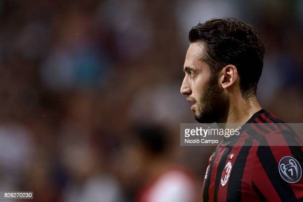 Hakan Calhanoglu of AC Milan looks on during the UEFA Europa League qualifier football match between AC Milan and CSU Craiova AC Milan wins 20 over...